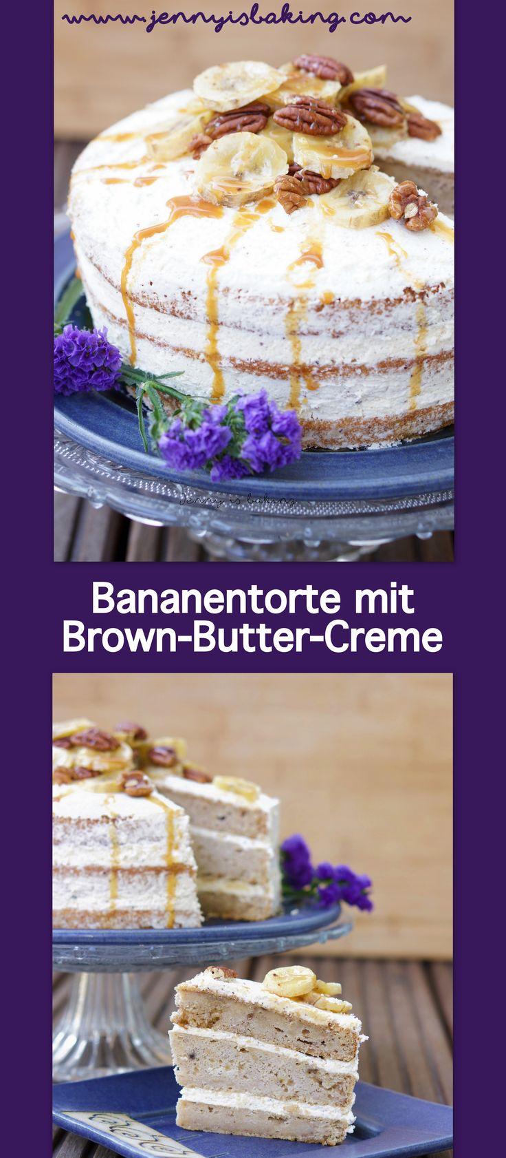 Bananentorte mit Italienischer Buttercreme #banane #torte #brownbutter #bananentorte