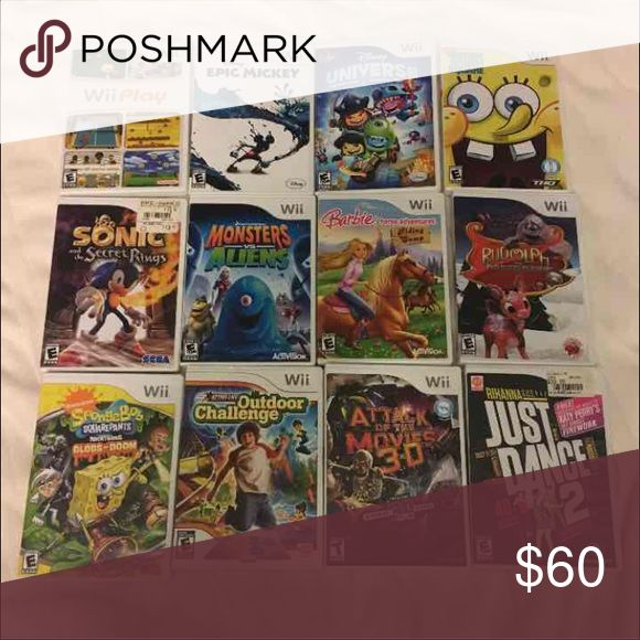 12 Wii Games 12 games All barely used Each $10 or all for $50 • Sonic and The Secret Rings • Wii Play • Disney Epic Mickey • Disney Universe • Monsters Vs Aliens • Spongebob Squarepants Globs of Doom • Spongebob Truth or Square • Active Life Outdoor Challenge • Just Dance 2 • Attack of The Movies 3-D • Barbie Horse Adventure Riding Camp • Rudolph The Red-Noised Reindeer wii Other