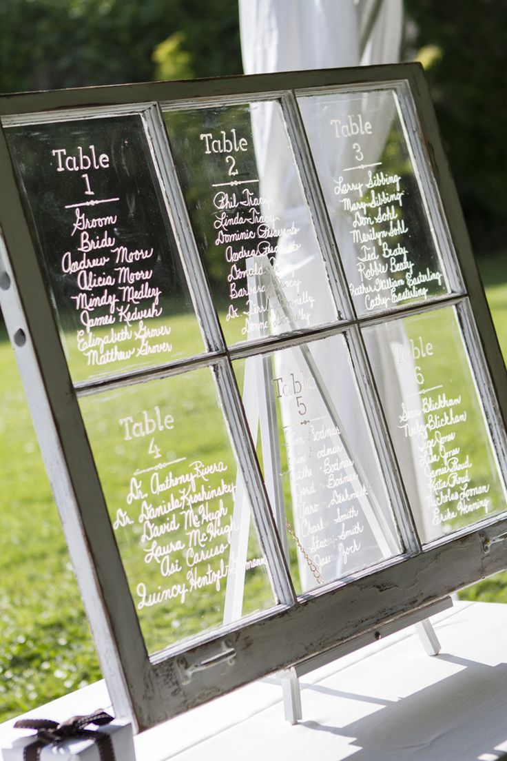 Guest Seating for an Outdoor Wedding - A distressed windowpane or mirror from an antique store or flea market makes a beautiful way to display guest seating. Here the guest's seating arrangement has been written between the mullions / Take a Seat Events