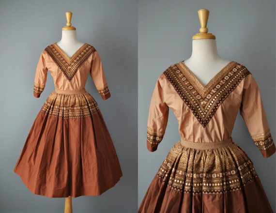 Vintage 50s Fiesta Dress // 1950s Chocolate Brown Blouse and Skirt // Small