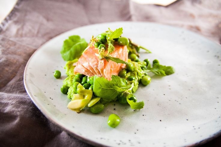 Tales of a social eater: Spring Salmon with Green Pea and Soy Bean Puree