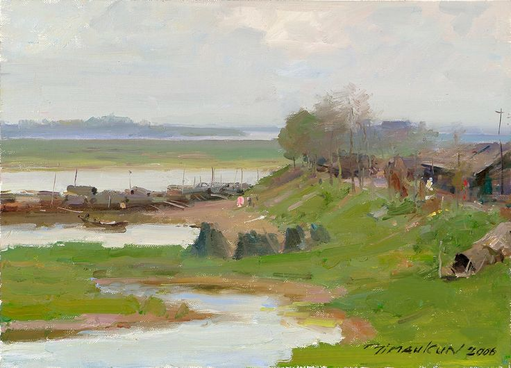 Fishing Village by the Lake (Hunan Province, Central China), Oil on Canvas, 15x18 inches, 2006