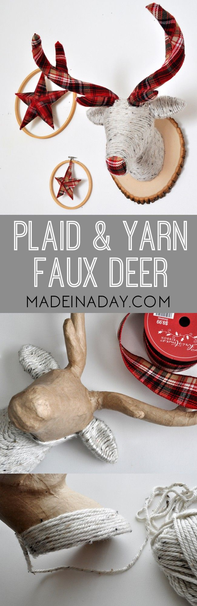 Plaid and Yarn Faux Deer Head, cover a deer head with yarn and plaid ribbon, then mount it on a wood slice for cute holiday decor, stag head via @madeinaday