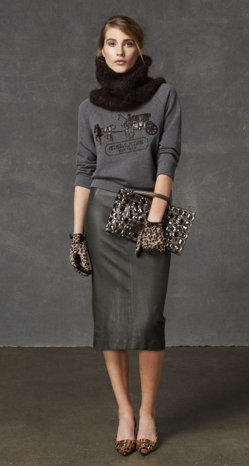 The Look: The Horse and Carriage Sweatshirt With Leather, the Leather Sexy Skirt, and the Rabbit Fur Cashmere Tie from Coach