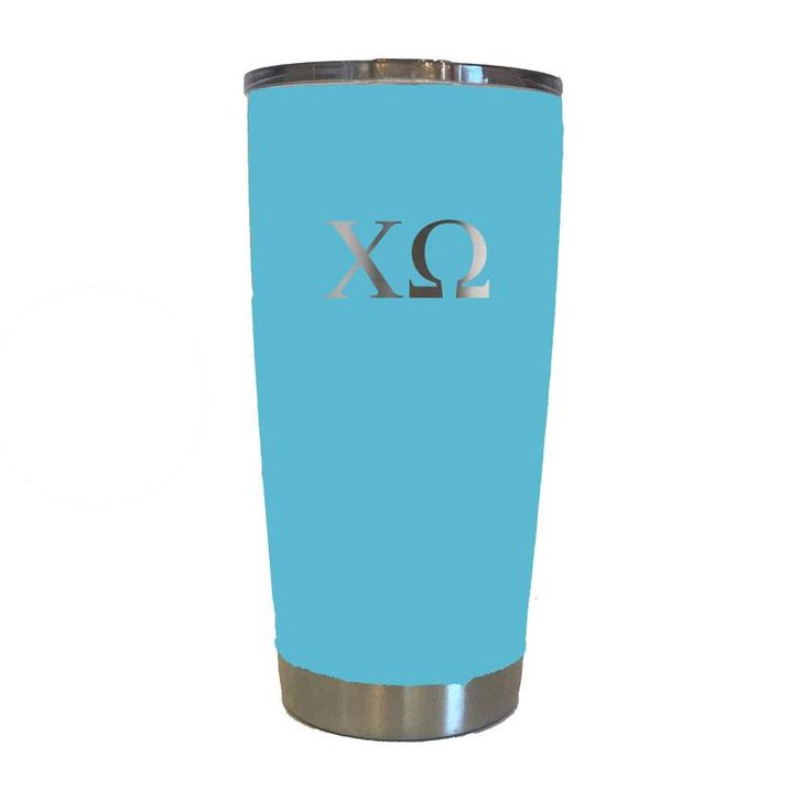 Chi Omega Greek letters engraved on turquoise tumbler