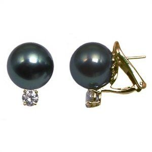 18K yellow gold 15mm Black Tahitian cultured pearl and diamond 1.5 t.d.w. earring