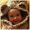Capuchon au crochet pour petite ourse - L'estaminet du babillage
