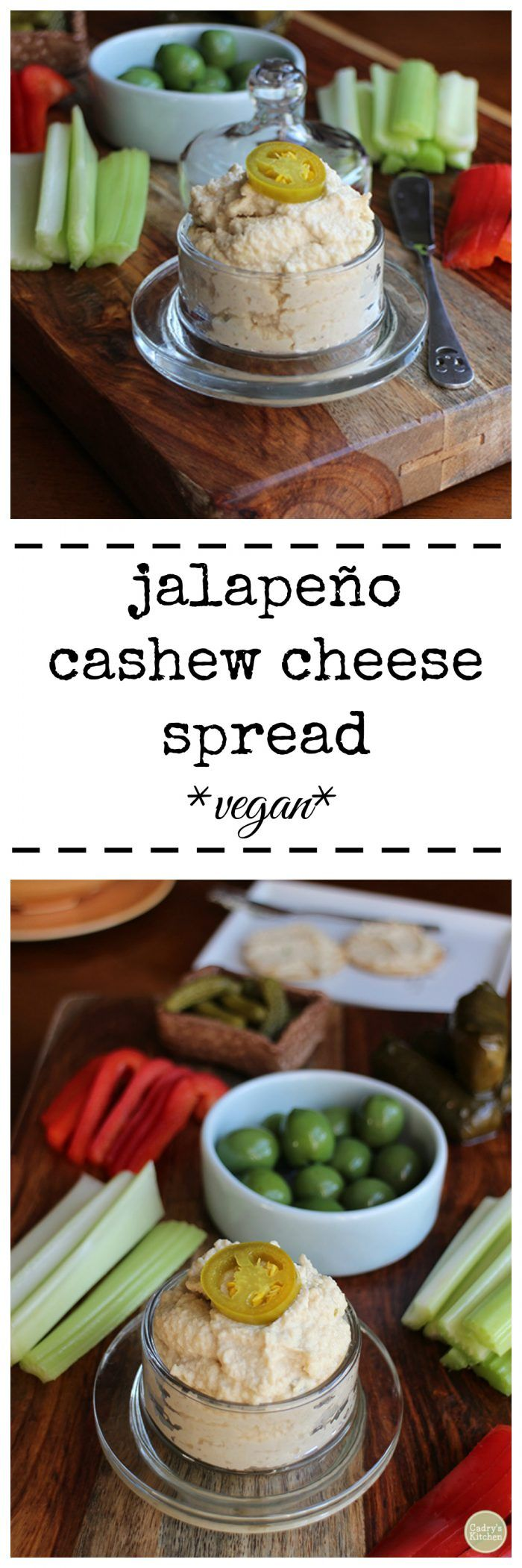 Jalapeno cashew cheese spread. With a base of raw cashews, this spread snaps with the flavor of pickled jalapeños. Vegan. Dairy free. | cadryskitchen.com via @cadryskitchen #vegan #nondairy #dairyfree #jalapeno