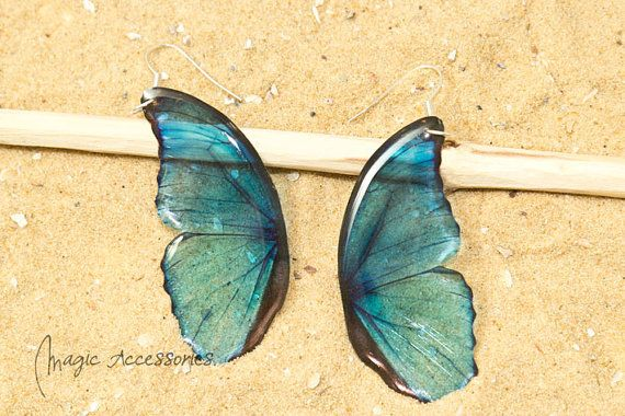 Blue morpho butterfly wing earring looks by MagicalAccessories, £15.00