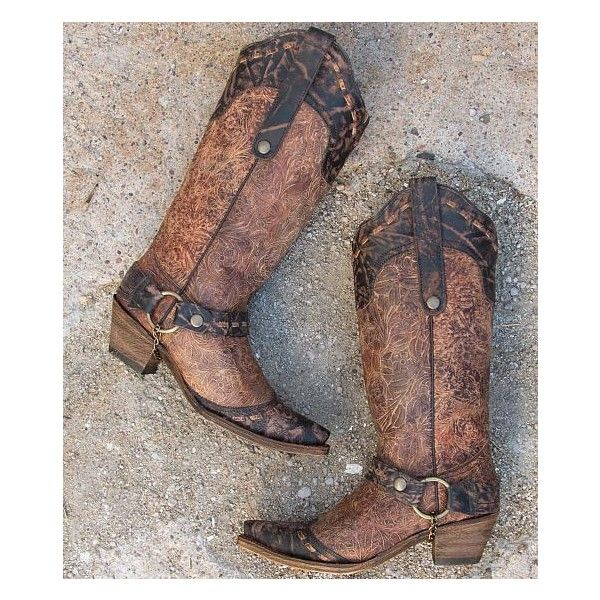 Corral Floral Cowboy Boot ($285) ❤ liked on Polyvore featuring shoes, boots, brown, western style boots, western boots, floral print shoes, floral cowboy boots and brown shoes