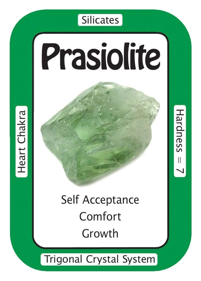"Prasiolite, ""The healing energy of the Universe flows through me and into the Earth."" Prasiolite (also called Vermarine, or Green Amethyst) helps to energetically link the physical of the Human self with the spiritual of Higher Self."