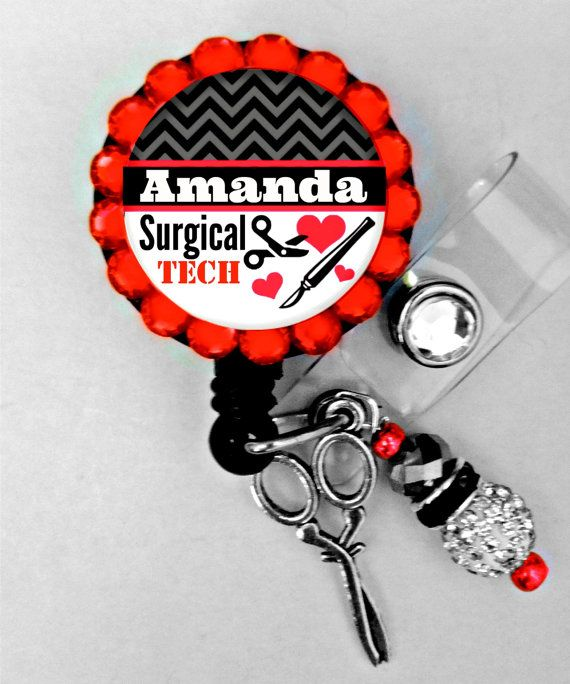 Retractable ID Badge Reel Surgical Tech Personalized by Badgetopia