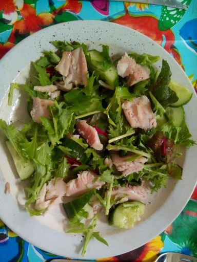 Salade met gerookte makreel, snijbiet, raapsteeltjes, komkommer, zout, peper, olijfolie en limoensap. #gezond