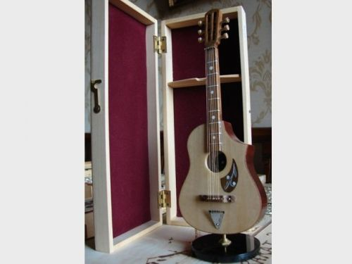 Mini Handcrafted Wooden Semi Acoustic Guitar with stand & box 6 string