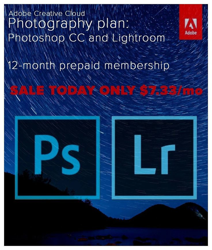Adobe's Lightroom/Photoshop bundle is on sale TODAY ONLY for just $7.33/mo - Learn more at http://photorec.tv/deals  Regular price is $9.99/mo - Solid savings for everything you need to edit like a pro.  P. S. Adobe I made you a new box cover  the one you use on Amazon is #blargh.