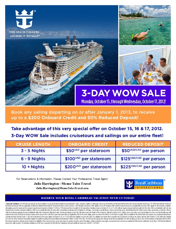 3 Day WOW Sale Save On Your 2013 Royal Caribbean Cruise PixieTripsTravelco