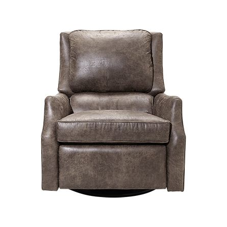 "Alex 30"" Leather Swivel Recliner in Palance Marble"