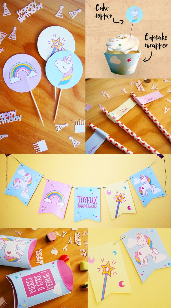 Kit anniversaire imprimable Licorne invitations guirlande