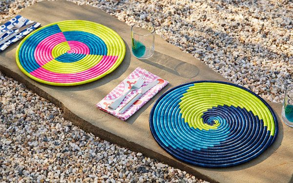 Colorful raffia placemats