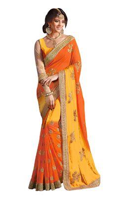Georgette Orange Colored Ravishing Saree With Blouse Sarees on Shimply.com