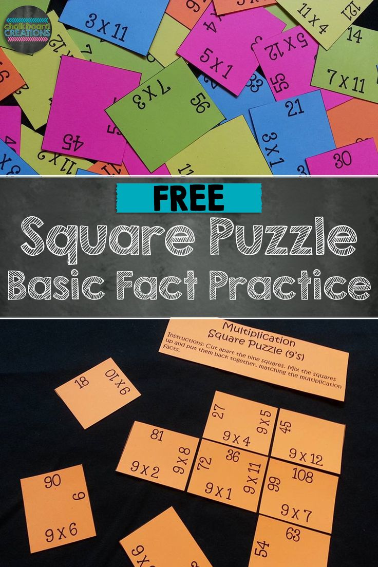 Do your students need practice memorizing their basic multiplication facts? Check out this FREE Square Puzzle for the 9's times tables. Great for math workshop, early finishers, and math centers.