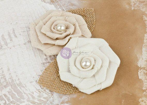 Prima fabric flowers La Tela Vinage Pearl by isakayboutique