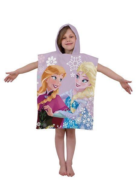 Hurmaavan Frozen-huppupyyhkeen etupuolella hymyilevät Frozen-elokuvan Anna ja Elsa. Selkäpuolella kurkkii lumiukko Olaf. Pyyhkeen mitat 50 x 115 cm. 100 % puuvillaa. Pesu 40 asteessa.