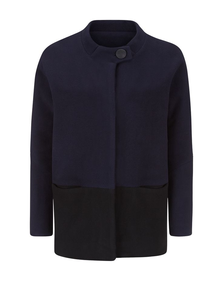Charlotte Zimbehl's dolman sleeve wool blend jacket 'The Julie' in the colour navy and black. Made in London.