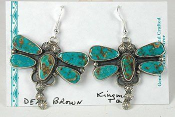 Authentic Native American sterling silver Turquoise Dragonfly earrings by Navajo Dean Brown