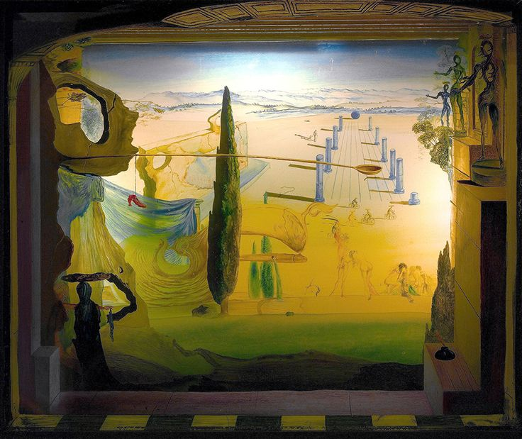 """Dali Salvador Small Theater 1934 Painting And Glass Moma (from <a href=""""http://www.oldpainters.org/picture.php?/32744/category/338"""">serra</a>)"""