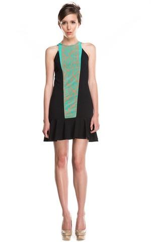Hunter Dixon Tulip Ikat Front Black Dress at Social Dress Shop