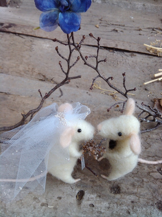 A Rustic Wedding Mice  needle felted ornament by feltingdreams