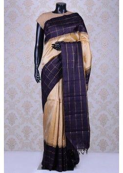 Golden beige lovely kanchipuram silk saree with black border-SR14114
