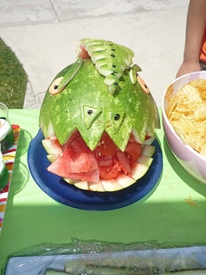 Dragon head made from Watermelon