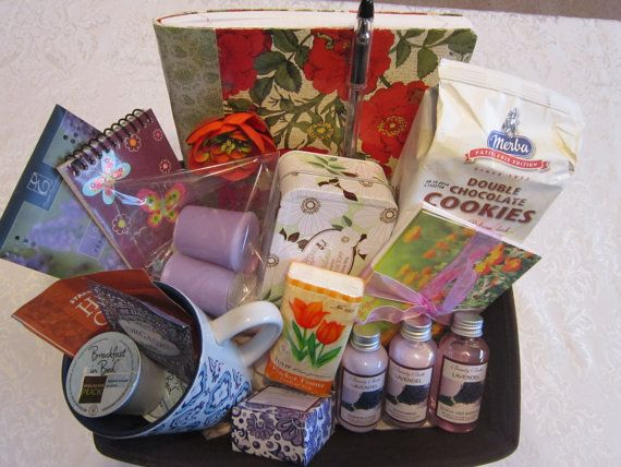 Care and Concern Get Well Sympathy Gift Basket by Inspiredbygram Ideas:  herbal tea, Kleenex, mug, hot chocolate, note cards, candles, lotion, journal, comforting Scriptures, lap blanket, stuffed bear, flavored decaf, homemade bread or soup, fruit, CD, potted plant