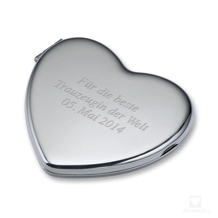 #gift #love #mothersday #engraving #gravur #geschenk #hochzeit #trauzeugin #liebe #mutter #mother #geschenkidee     Mirror with custom engraving - Süßer Taschenspiegel mit Gravur in Herzform