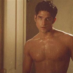 "Scott and his wet pecs. | Community Post: 41 GIFs Of The ""Teen Wolf"" Men To Make You Drool"