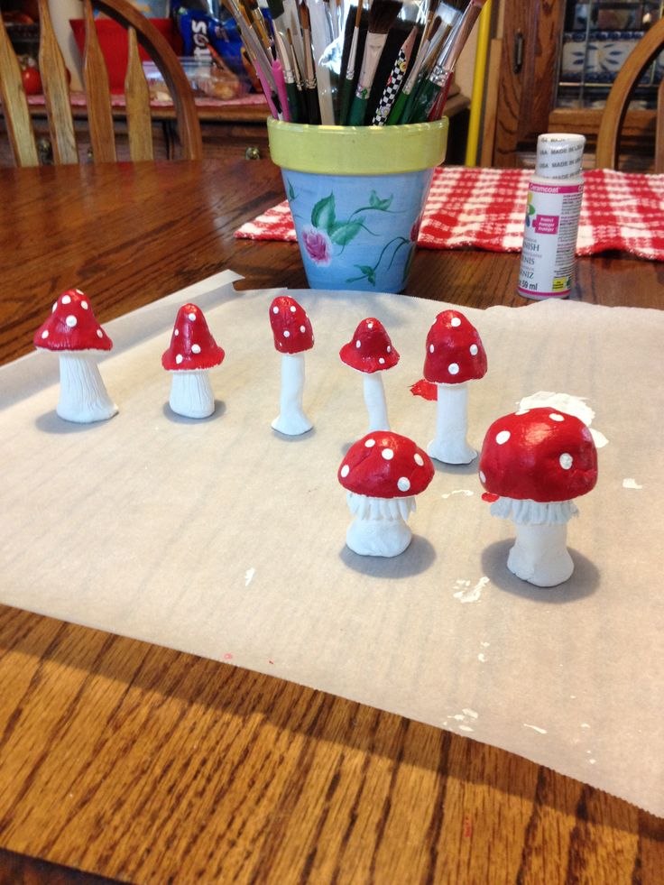 Air dry clay mushrooms for the fairy gardens