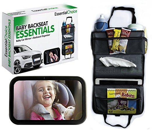 Baby Car Mirror & Backseat Car Organizer Bundle