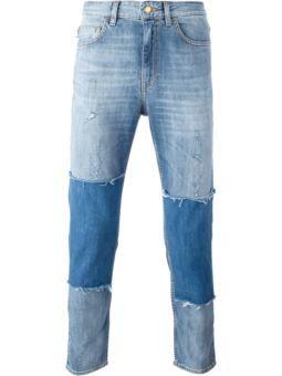 patchwork slim fit jeans