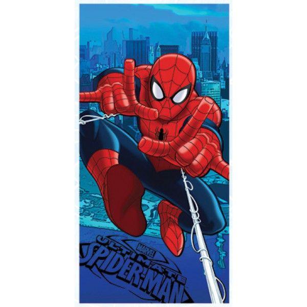Flot badehåndklæde med superhelten Spiderman skabt af Marvel. Håndklædet måler 140 cm x 70 cm og er i 100% bomuld.