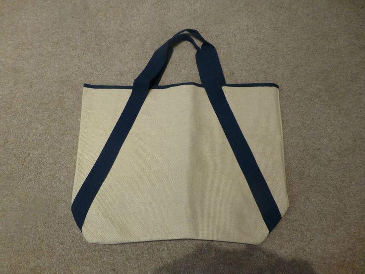BNNT Beige Sand Natural Hessian Navy Canvas Shopper Tote Beach Bag Shoulder Bag