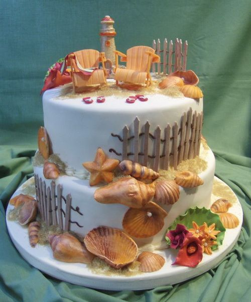 Edible Beach Themed Cake Decorations: 281 Best Beach Wedding Cakes Images On Pinterest