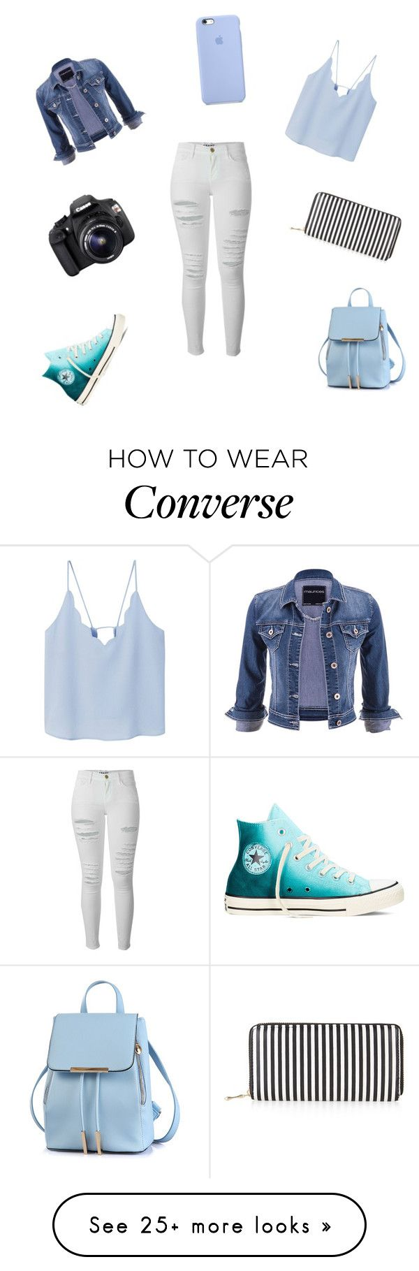 """love"" by caitlincatastrophe95 on Polyvore featuring Frame Denim, MANGO, Converse, maurices, Eos and New Look"