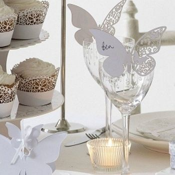 butterfly and lace wedding table accessories