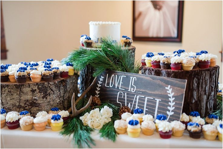 Dessert table with cake and cupcakes. FivePine Lodge Central Oregon Wedding venue. Sisters, Oregon. Misty C Photography