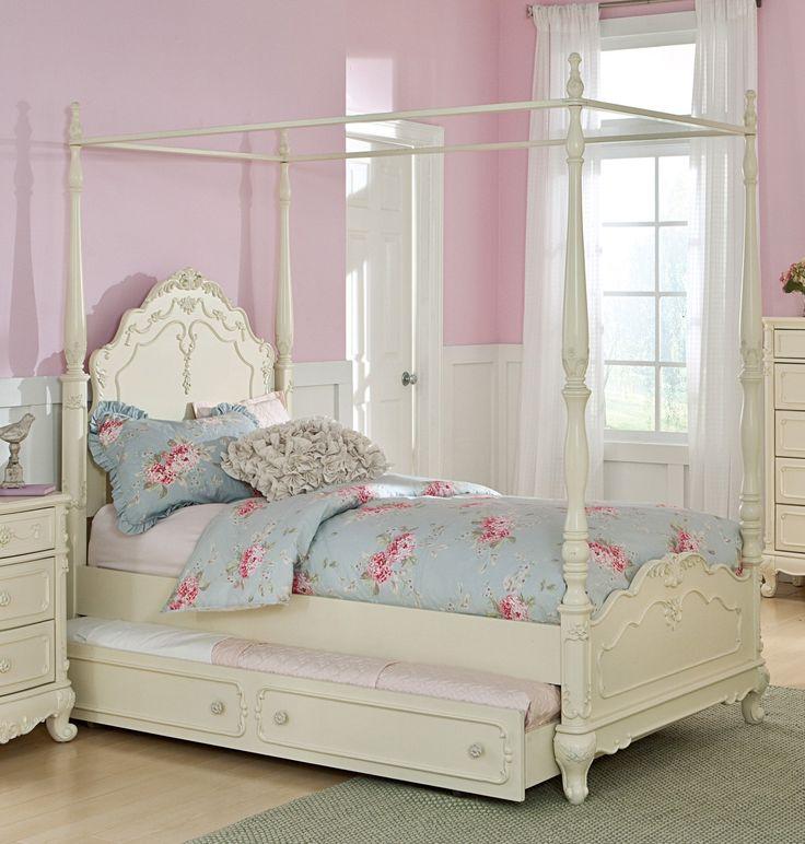 Homelegance 1386TPP-1 Ecru White Wood Girls Twin Canopy Bed Trundle