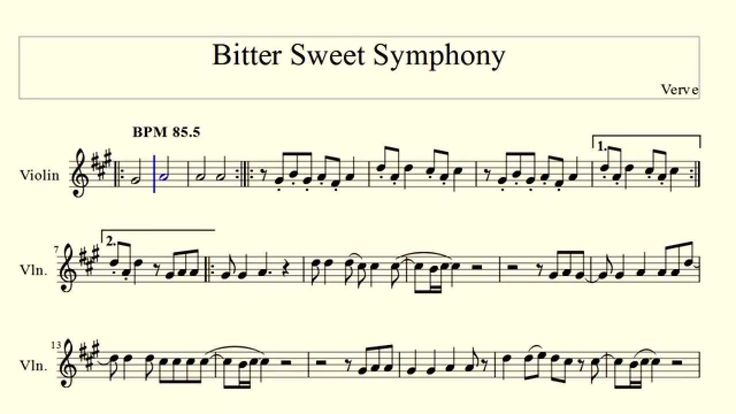 Bitter Sweet Symphony - Verve (violin) - YouTube