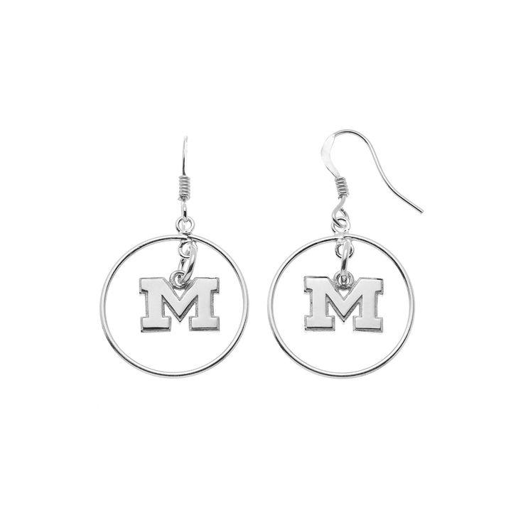 Dayna U Michigan Wolverines Sterling Silver Logo Charm Hoop Drop Earrings, Women's, Grey