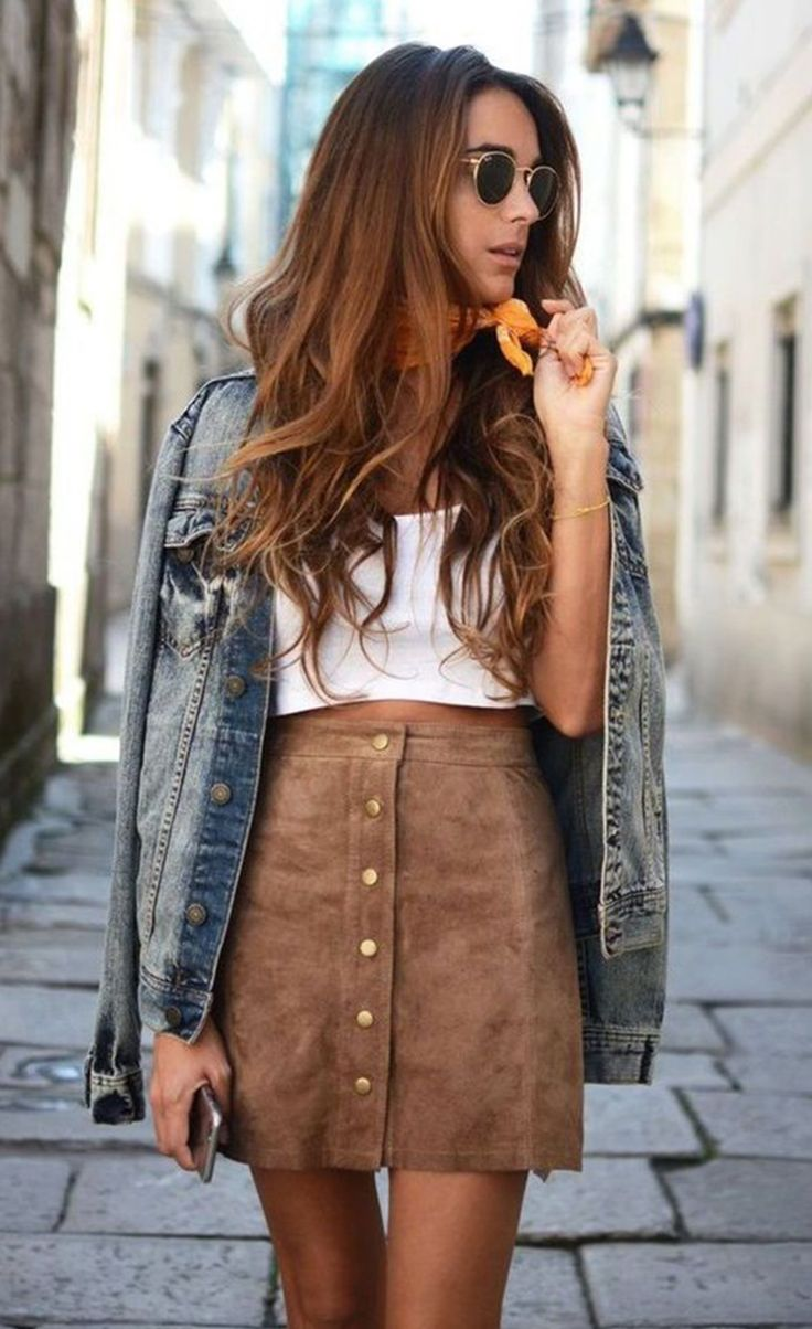 #fall #outfits  women's white top and brown leather high waist skirt and blue-washed denim jacket